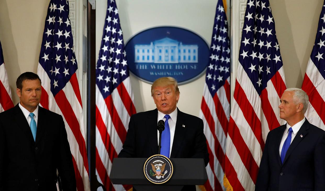 President Donald Trump addressed the first meeting of the Presidential Advisory Commission on Election Integrity in July. (Photo: Kevin Lamarque / Reuters)