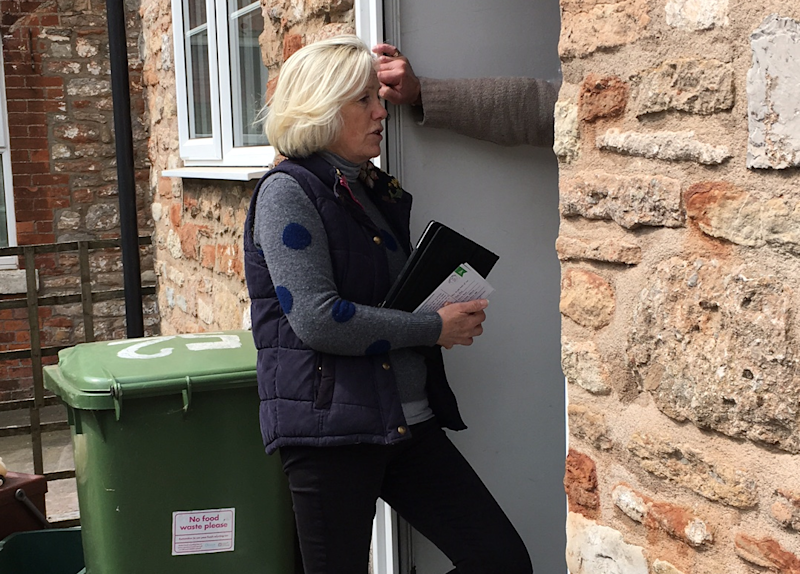Tessa Munt, Lib Dem candidate, campaigning in Wells, with iPad. Photo: John Rentoul