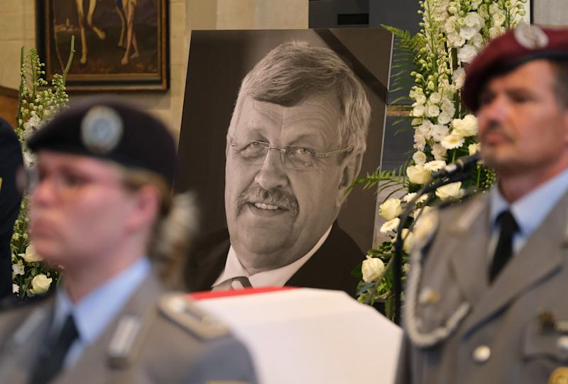 An honor guard stands at the coffin of murdered German politician Walter Lübcke at his memorial service on June 13, in Kassel, Germany. (Photo: Sean Gallup/Getty Images)