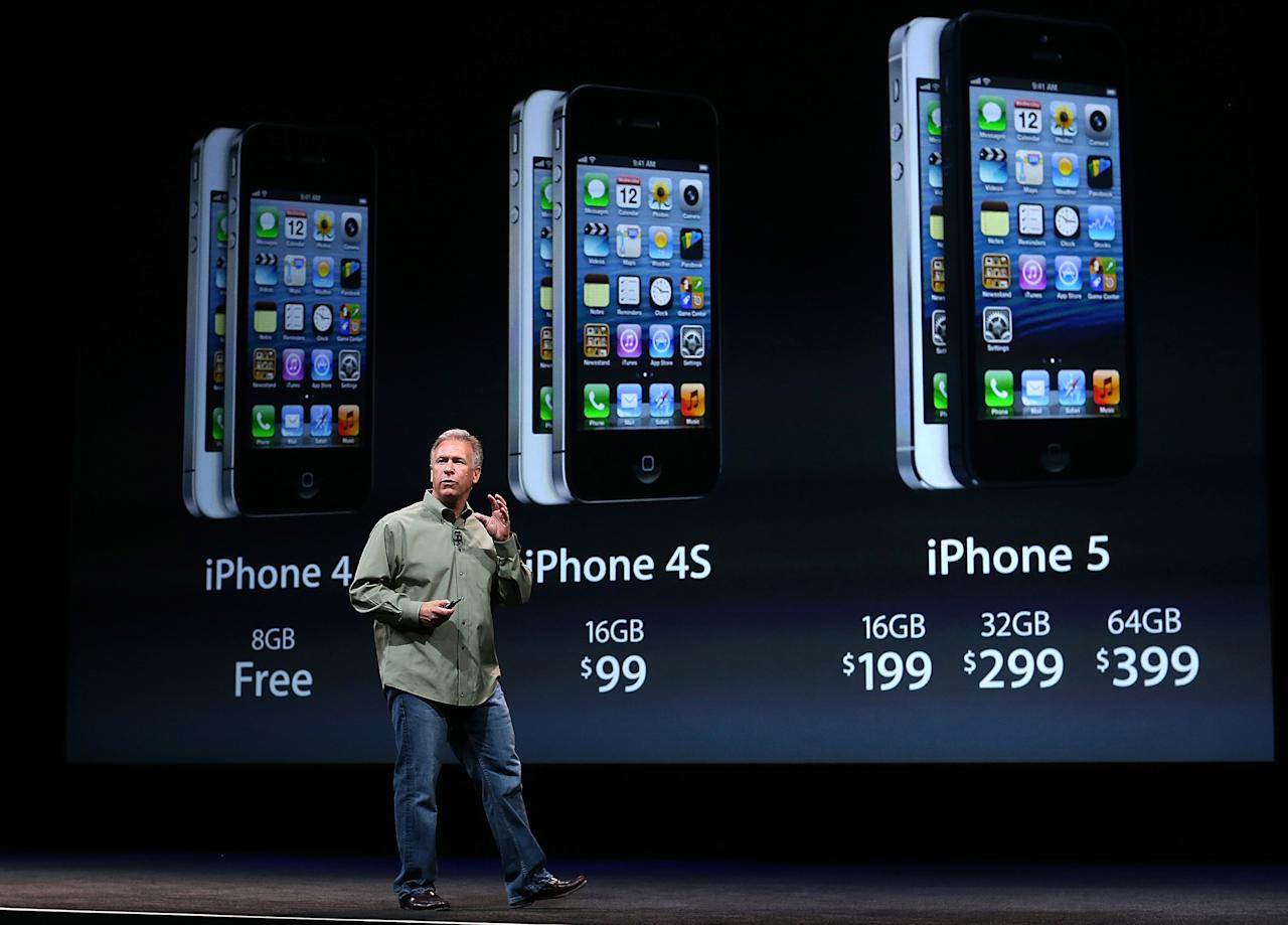 SAN FRANCISCO, CA - SEPTEMBER 12:  Apple Senior Vice President of Worldwide product marketing Phil Schiller announces the new iPhone 5 during an Apple special event at the Yerba Buena Center for the Arts on September 12, 2012 in San Francisco, California. Apple announced the iPhone 5, the latest version of the popular smart phone.  (Photo by Justin Sullivan/Getty Images)
