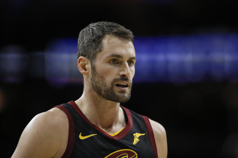 Cleveland Cavaliers' Kevin Love plays during an NBA basketball game against the Philadelphia 76ers, Saturday, Dec. 7, 2019, in Philadelphia. (AP Photo/Matt Slocum)