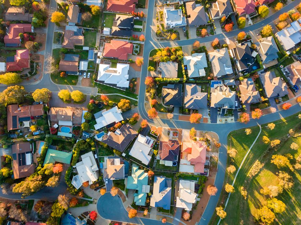 Typical Australian suburb from above in autumn