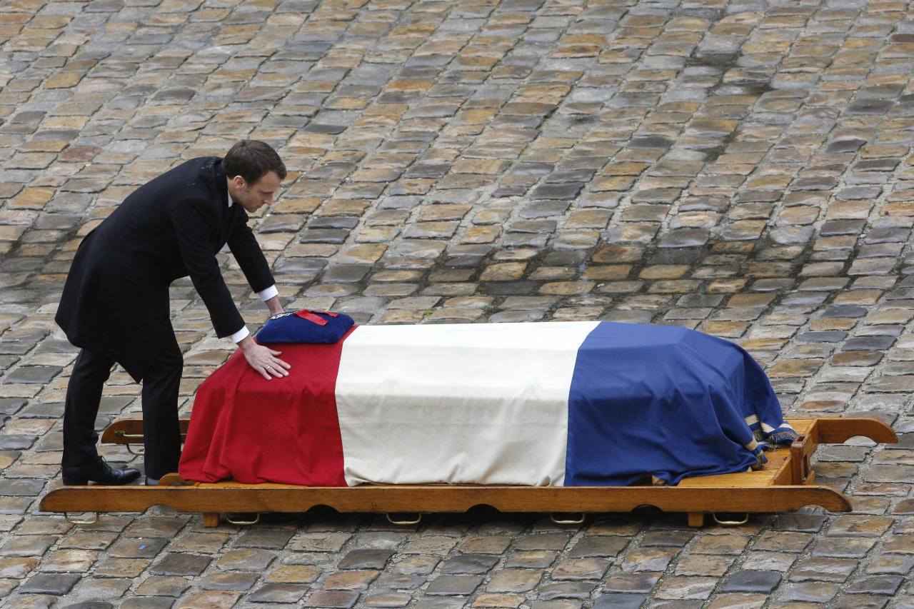 <p>Three former presidents, Francois Hollande, Nicolas Sarkozy and Valery Giscard d'Estaing, are also attending in a symbol of the political dimension this ceremony has taken. (PA) </p>