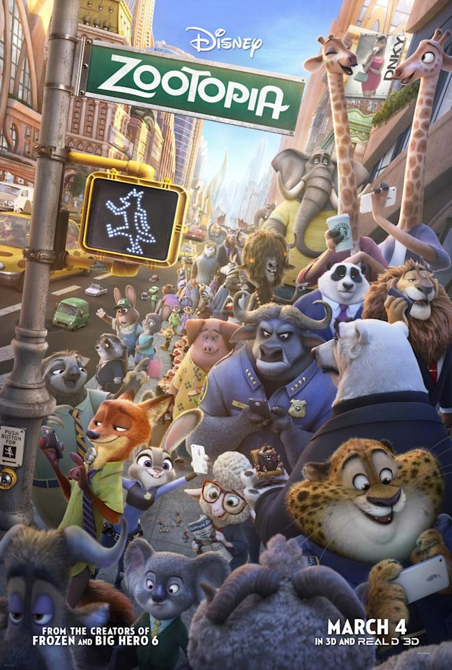 <p>Called Zootropolis over here for really no reason at all, this manic poster is a cracker (Credit: Disney) </p>