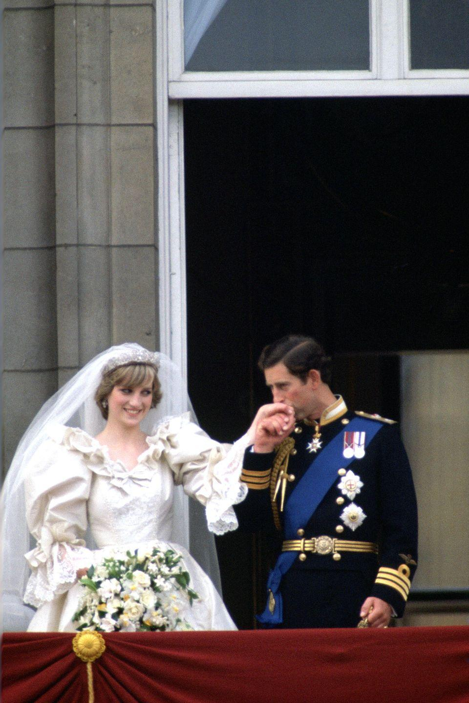 <p>In one of the most famous royal weddings of all time, Lady Diana Spencer married Prince Charles in St Paul's Cathedral in 1981. The couple held a reception at Buckingham Palace afterward, where they shared their famous balcony kiss.</p>