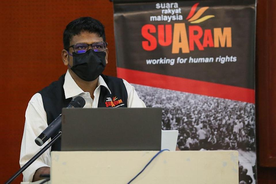 Suaram executive director Sevan Doriasamy speaks during a question and answer session in Kuala Lumpur May 4, 2021. ― Picture by Yusof Mat Isa