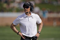 Wake Forest coach Dave Clawson watches during the first half of the team's NCAA college football game against Florida State on Saturday, Sept. 18, 2021, in Winston-Salem, N.C. (AP Photo/Chris Carlson)