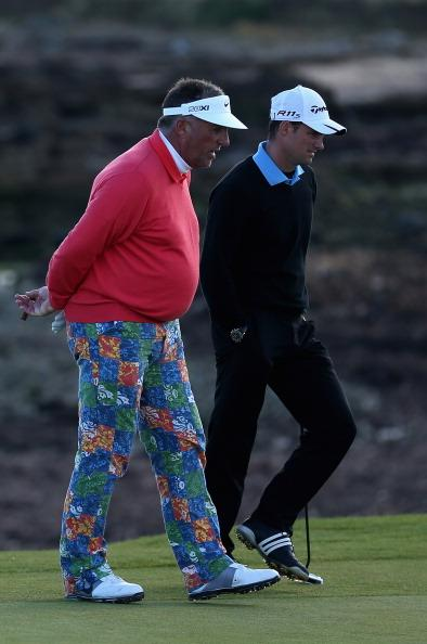 KINGSBARNS, SCOTLAND - OCTOBER 06:  Former cricketers Sir Ian Botham and Andrew Strauss are pictured on the 15th green during the third round of The Alfred Dunhill Links Championship at Kingsbarns Golf Links on October 6, 2012 in Kingsbarns, Scotland.  (Photo by Warren Little/Getty Images)
