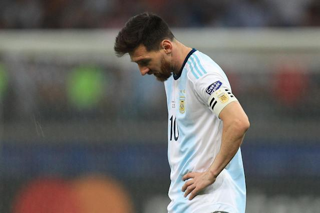 Lionel Messi reacts after the Copa America semifinal match between Brazil and Argentina at Mineirao Stadium on July 02, 2019 in Belo Horizonte, Brazil. (Buda Mendes/Getty Images)