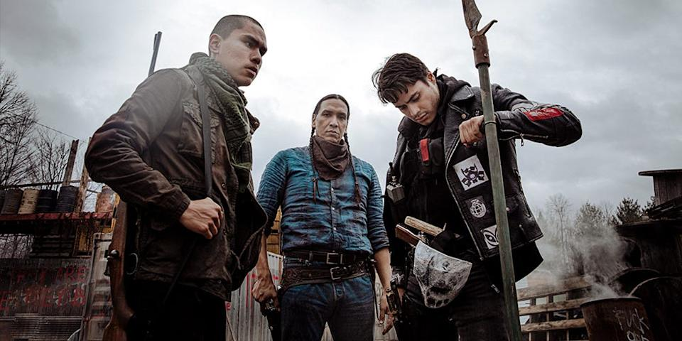 """A tribal sheriff (Michael Greyeyes) and his two sons (Forrest Goodluck and Kiowa Gordon) try to keep their Canadian reservation zombie-free in """"Blood Quantum."""""""