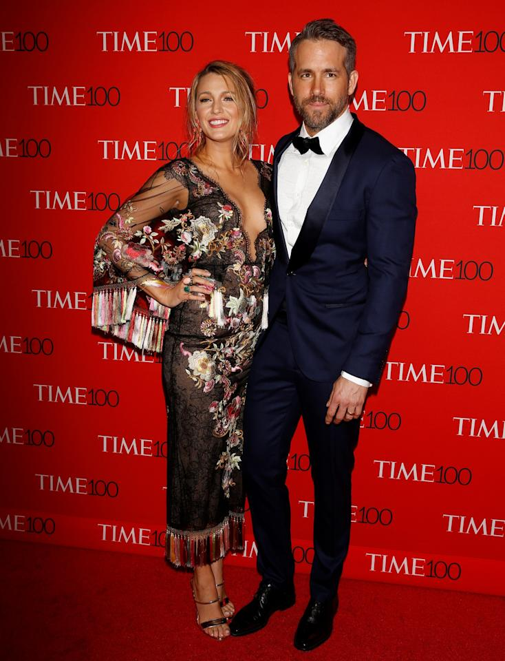 <p>Blake Lively and Ryan Reynolds arrive at the Time 100 Gala. (Photo: Reuters) </p>