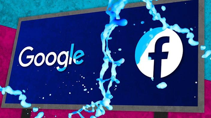 Facebook and Google logos on the sign
