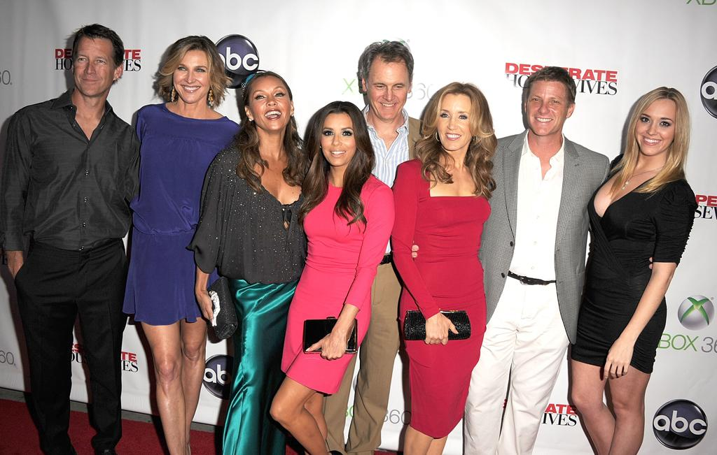 "James Denton, Brenda Strong, Vanessa Williams, Eva Longoria, Doug Savant, Felicity Huffman, and Andrea Bowen attend the ""<a target=""_blank"" href=""http://tv.yahoo.com/desperate-housewives/show/36265"">Desperate Housewives</a>"" Series Finale Party at the W Hollywood on April 29, 2012 in Hollywood, California."