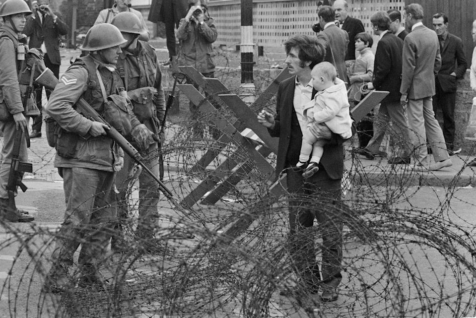 August 1969: soldiers and civilians in Northern Ireland during the TroublesGetty