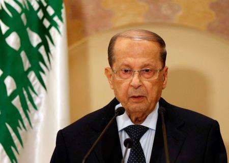 Christian politician and FPM founder Michel Aoun talks during a news conference in Beirut