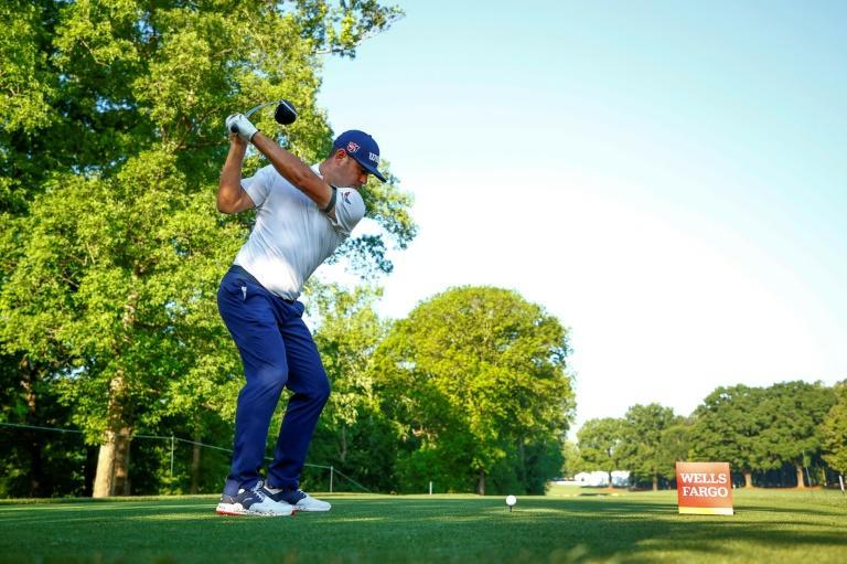 American Gary Woodland has a share of the 36-hole lead along with Matt Wallace and Patrick Rodgers at the US PGA Tour Wells Fargo Championship