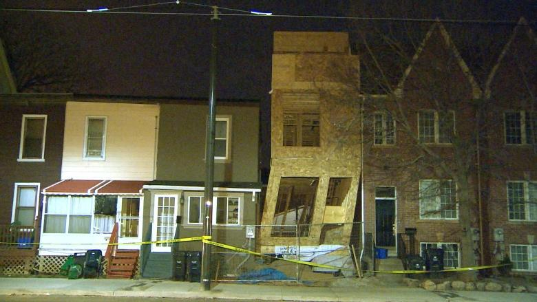 Strong winds blow over Leslieville house under construction
