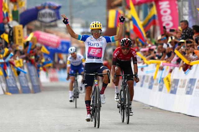 BOYACA COLOMBIA FEBRUARY 14 Arrival Sergio Andres Higuita Garcia of Colombia and Team EF Pro Cycling White Best Young Jersey Celebration Egan Arley Bernal Gomez of Colombia and Team INEOS Julian Alaphilippe of France and Team Deceuninck Quick Step during the 3rd Tour of Colombia 2020 Stage 4 a 1686km stage from Paipa to Santa Rosa de Viterbo Boyac 2751m TourColombiaUCI TourColombia2020 on February 14 2020 in Boyac Colombia Photo by Maximiliano BlancoGetty Images