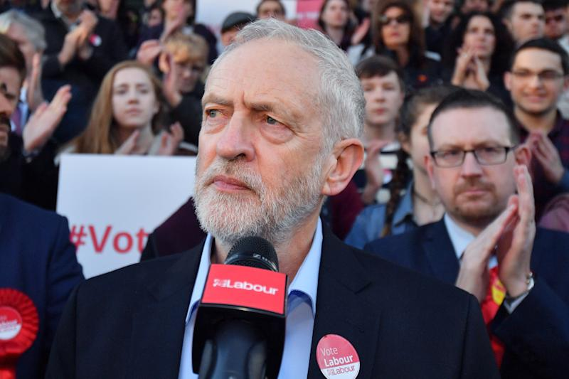 Jeremy Corbyn addresses Momentum rally in Manchester on May 5 (Anthony Devlin via Getty Images)