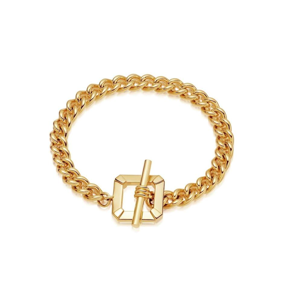 """<p><a class=""""link rapid-noclick-resp"""" href=""""https://go.redirectingat.com?id=127X1599956&url=https%3A%2F%2Fuk.missoma.com%2Fcollections%2Fbracelets%2Fproducts%2Flucy-williams-gold-t-bar-chain-bracelet&sref=https%3A%2F%2Fwww.harpersbazaar.com%2Fuk%2Ffashion%2Fjewellery-watches%2Fg35254072%2Fgold-chain-bracelets%2F"""" rel=""""nofollow noopener"""" target=""""_blank"""" data-ylk=""""slk:SHOP NOW"""">SHOP NOW</a></p><p>This chunky gold-plated bracelet has a flattened chain and T-bar clasp in a nod to 1980s styling. </p><p>Gold plated chain bracelet, £125,<a href=""""https://uk.missoma.com/"""" rel=""""nofollow noopener"""" target=""""_blank"""" data-ylk=""""slk:Missoma"""" class=""""link rapid-noclick-resp"""">Missoma</a></p>"""