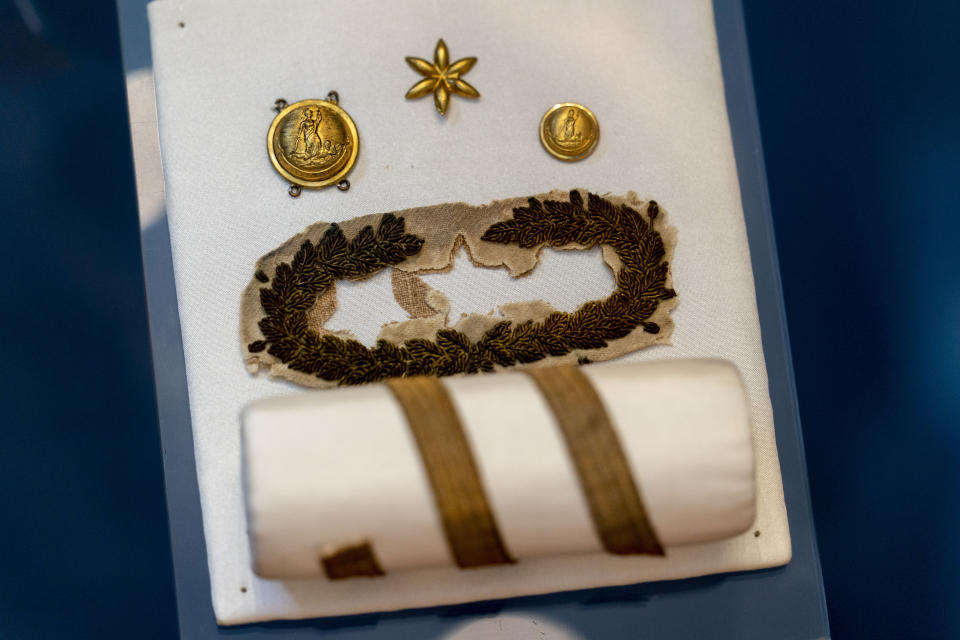 Personal belongings of Robert E. Lee are displayed at a museum building at Arlington House, The Robert E. Lee Memorial, formerly named the Custis-Lee Mansion, which reopens to the public for the first time since 2018 at Arlington National Cemetery, Tuesday, June 8, 2021 in Arlington, Va. The Virginia mansion where Robert E. Lee once lived that now overlooks Arlington National Cemetery is open to the public again, after a $12 million rehabilitation and reinterpretation that includes an increased emphasis on those who were enslaved there. (AP Photo/Andrew Harnik)