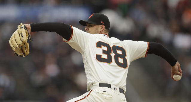 San Francisco Giants pitcher Tyler Beede works against the Arizona Diamondbacks during the first inning of a baseball game Thursday, June 27, 2019, in San Francisco. (AP Photo/Ben Margot)