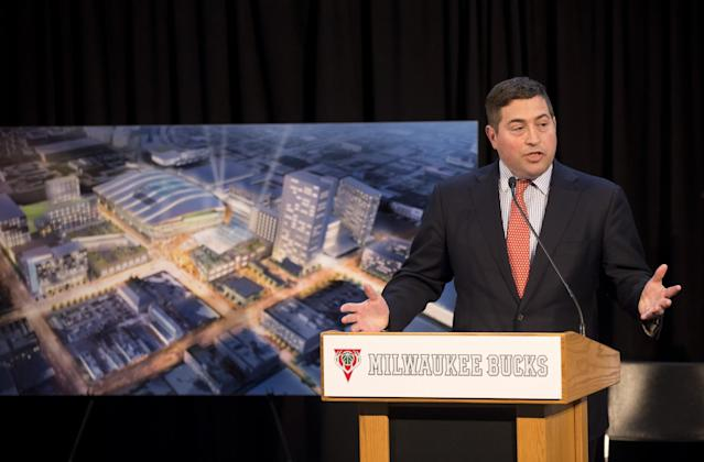 "<a class=""link rapid-noclick-resp"" href=""/nba/teams/mil/"" data-ylk=""slk:Milwaukee Bucks"">Milwaukee Bucks</a> President Peter Feigin speaks at an April 7, 2015, press conference. (AP)"