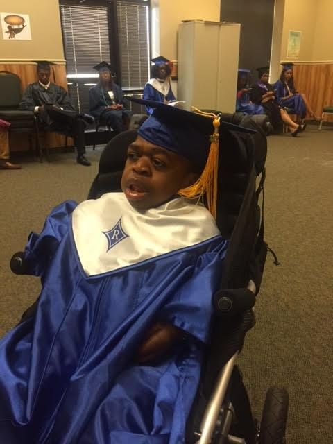 Khye Jessup, who has a rare genetic disorder with a short life expectancy, at graduation. (Photo: Shelley Mason)