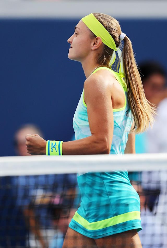 <p>Aleksandra Krunic of Serbia & Montenegro reacts during her first round Women's Singles match against Johanna Konta of Great Britain on Day One of the 2017 US Open at the USTA Billie Jean King National Tennis Center on August 28, 2017 in the Flushing neighborhood of the Queens borough of New York City. (Photo by Elsa/Getty Images) </p>