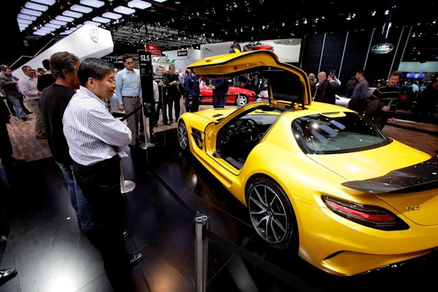 The Mercedes-Benz SLS AMG is seen at the North American International Auto Show in Detroit, Michigan, Thursday, Jan. 17, 2013. (J.D. Pooley/Sipa USA/dapd/AP Photo)