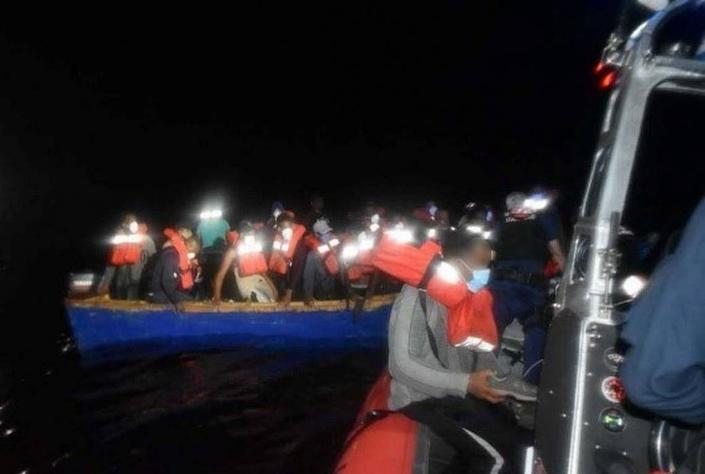 The 30-foot boat with 38 Dominican Republic nationals, who the U.S. Coast Guard said were trying to get into Puerto Rico.