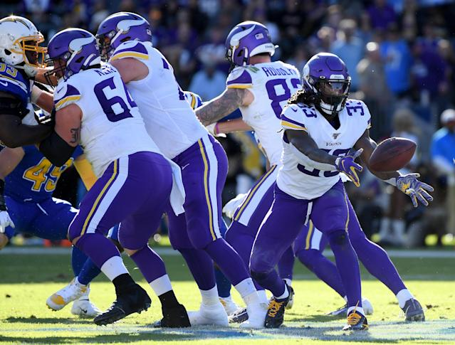 Dalvin Cook injured his shoulder against the Chargers. (Photo by Harry How/Getty Images)
