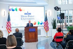 Dr. Nido Qubein, High Point University president, announced today that HPU is issuing a challenge gift up to $500,000 to the High Point Community Investment Campaign, a new fund for minority entrepreneurs in the city, and called on community investors to support the initiative, too.