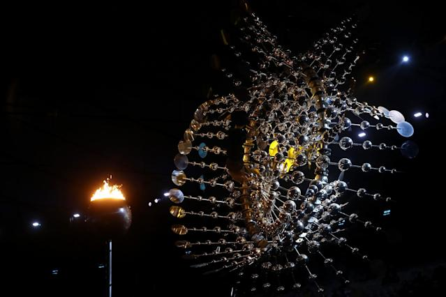 <p>The Olympic cauldron is seen prior to the Closing Ceremony on Day 16 of the Rio 2016 Olympic Games at Maracana Stadium on August 21, 2016 in Rio de Janeiro, Brazil. (Photo by Alexander Hassenstein/Getty Images) </p>