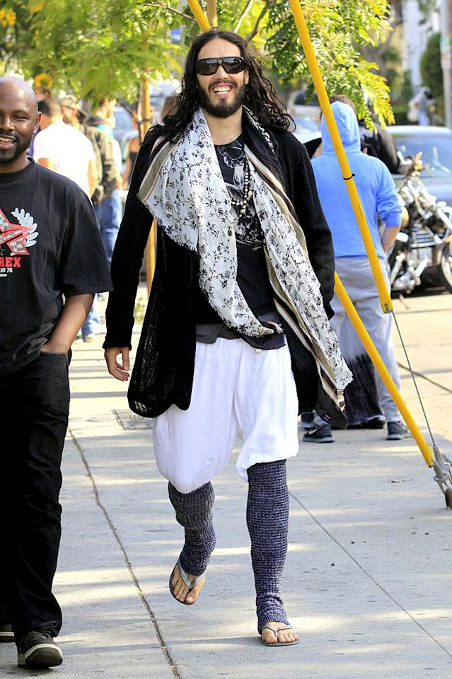 """The only thing worse than Russell Brand's new stand-up comedy show, """"Brand X,"""" is the hideous clothing combo he wore to a recent AA meeting. It looks like his ex, Katy Perry, left some of her unwanted accessories behind when she bolted. (7/10/2012)"""