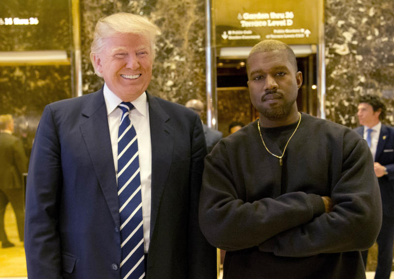 Kanye West raps his support of Trump at the White House