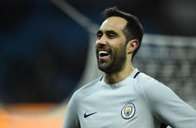 Manchester City's goalkeeper Claudio Bravo reacts during the FA Cup fifth round replay football match against Huddersfield Town March 1, 2017 (AFP Photo/Oli SCARFF )