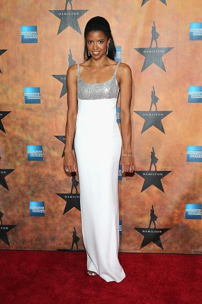 <p>Renée Elise Goldsberry plays one of the three women in Hamilton's life, and toasted her big opening night by wearing a fancy white column dress with sequins.</p>