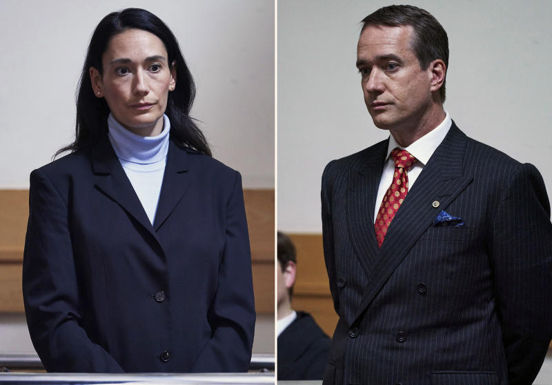 """This combination of photos released by AMC shows Sian Clifford, left, and Matthew Macfadyen in scenes from """"Quiz,"""" about a couple accused of cheating their way to the top prize on the British version of TV's """"Who Wants to Be a Millionaire."""" The three-part series debuts on Sunday at 10 p.m. EDT on AMC. (AMC/ITV via AP)"""