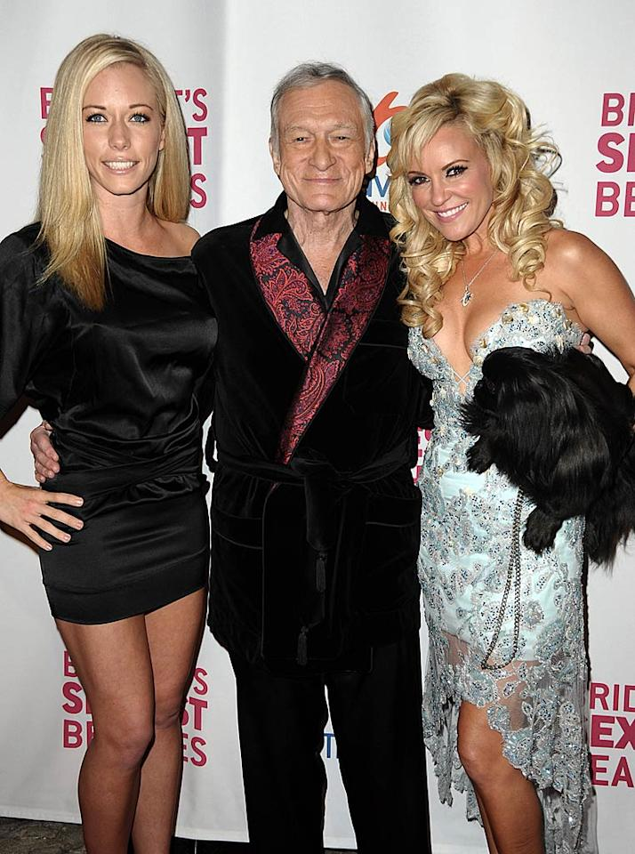 """Kendra Wilkinson and Hugh Hefner join Bridget Marquardt in celebrating the launch of her TV show """"Bridget's Sexiest Beaches."""" Holly Madison wasn't in attendance, presumably due to her """"Dancing With the Stars"""" commitments. Jason LaVeris/<a href=""""http://www.filmmagic.com/"""" target=""""new"""">FilmMagic.com</a> - March 10, 2009"""