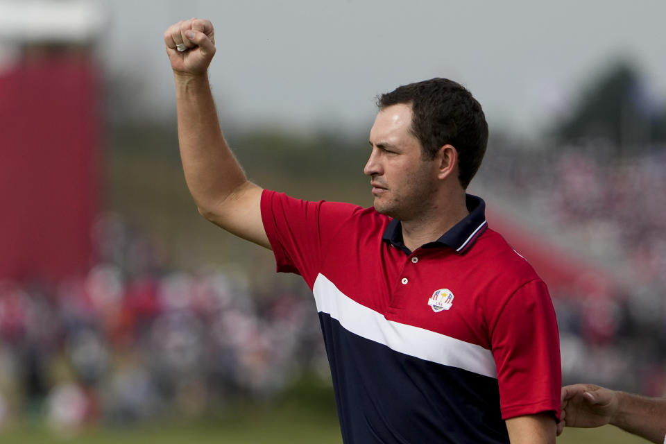 Team USA's Patrick Cantlay reacts after winning on the 16th hole during a Ryder Cup singles match at the Whistling Straits Golf Course Sunday, Sept. 26, 2021, in Sheboygan, Wis. (AP Photo/Jeff Roberson)