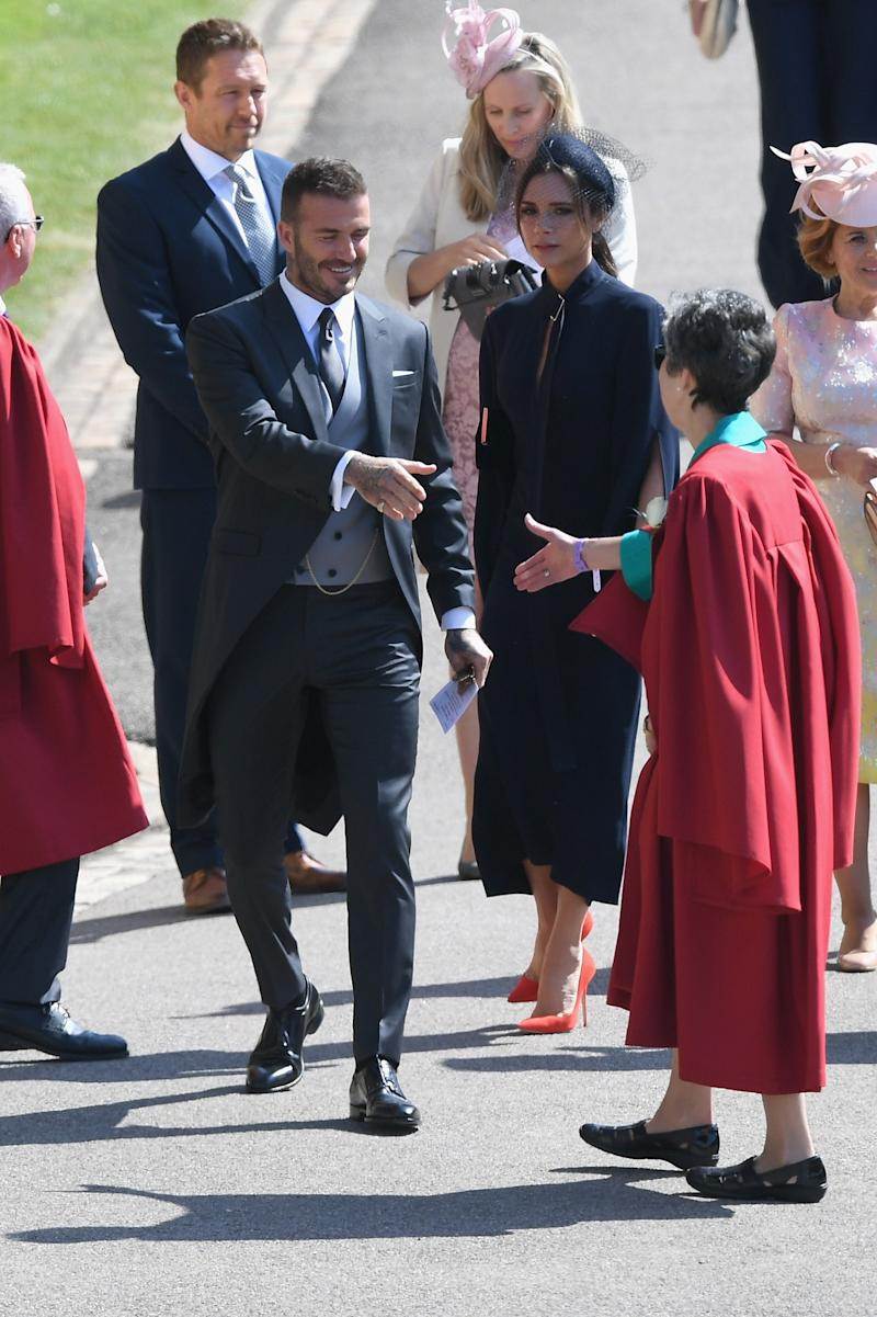 David and Victoria Beckham attend the wedding of Prince Harry to Ms Meghan Markle at St George's Chapel, Windsor Castle on May 19, 2018 in Windsor, England.