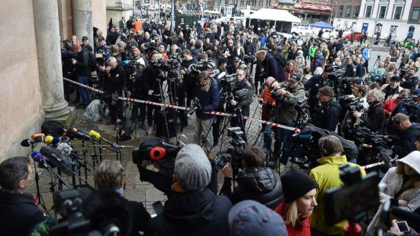 PHOTO: Press gather outside of the courthouse for the verdict in the case of Peter Madsen, in Copenhagen, April 25, 2018. (Mads Claus Rasmussen /Ritzau Scanpix via AP)