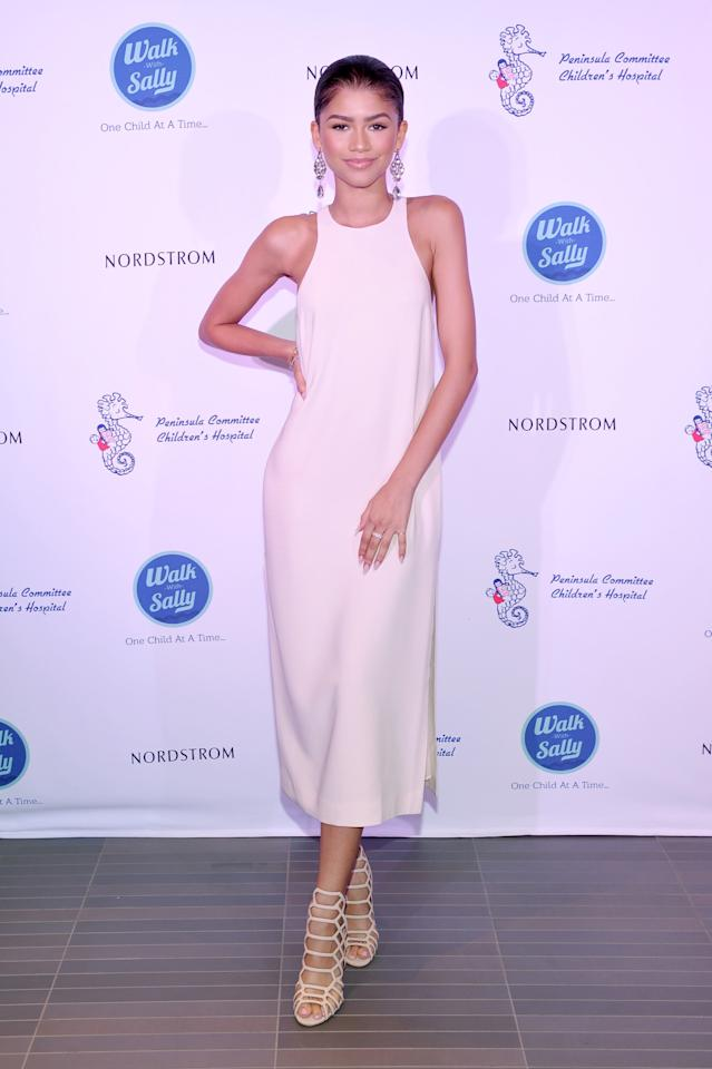 <p>The outspoken young actress attended the opening of Nordstrom's newest location in Del Amo Fashion Center in Torrance, California looking elegant in a minimalist design by Elizabeth and James. <i>Photo: Getty Images</i></p>