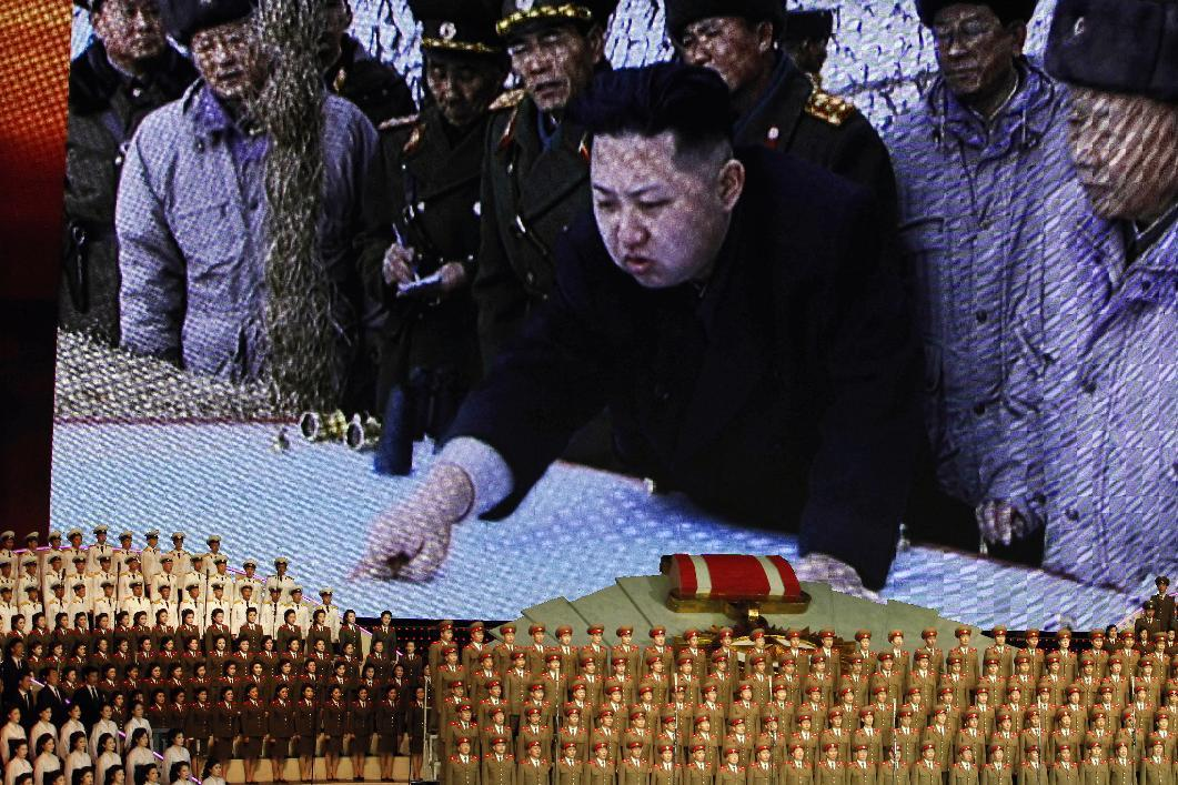 North Korea's new commander in chief, Kim Jong Un is displayed on a giant screen during a concert on the eve of the 80th anniversary of the founding of the North Korean army in Pyongyang, North Korea, Tuesday, April 24, 2012. (AP Photo/Ng Han Guan)