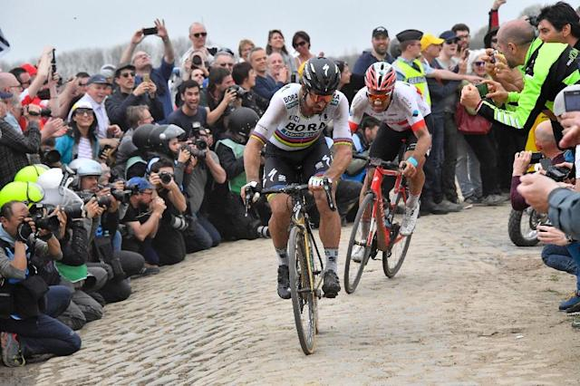 Peter Sagan on his way to Roubaix victory in 2018 (AFP Photo/BERNARD PAPON)