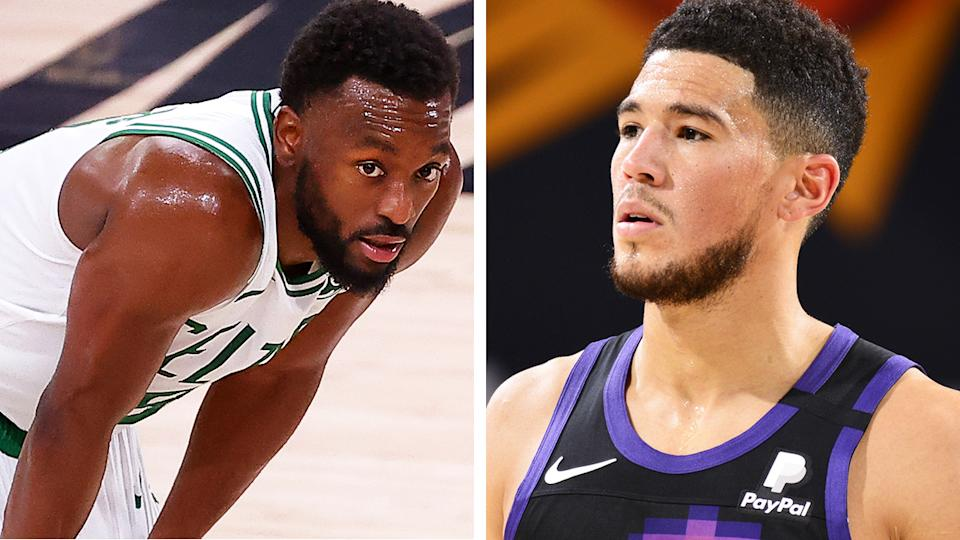 Boston's Kemba Walker is yet to play a game this season, while Phonenix's Devin Booker has been stuck in a slump in the early part of the season. Pictures: Getty Images