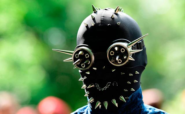 "<p>A dressed-up person attends a so-called ""Victorian Picnic"" during the Wave-Gotik-Treffen (WGT) festival in Leipzig, eastern Germany, on June 2, 2017. (Tobias Schwarz/AFP/Getty Images) </p>"