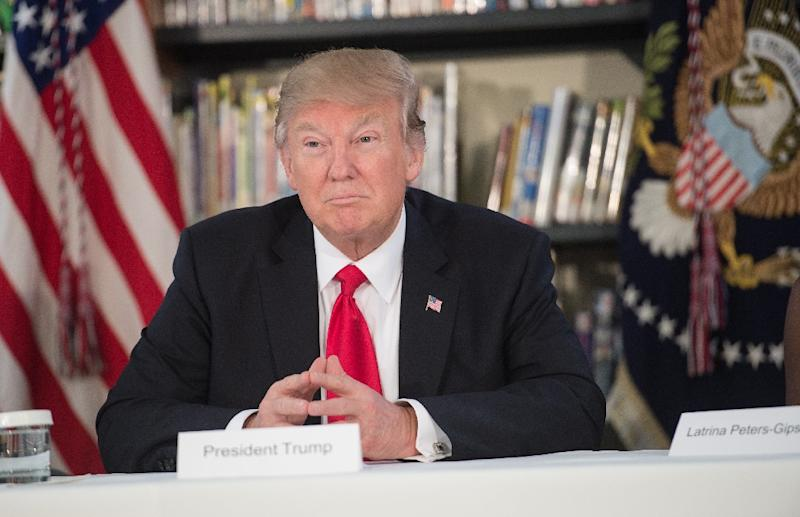 US President Donald Trump pictured during a meeting with parents and teachers at Saint Andrew Catholic School in Orlando, Florida, on March 3, 2017