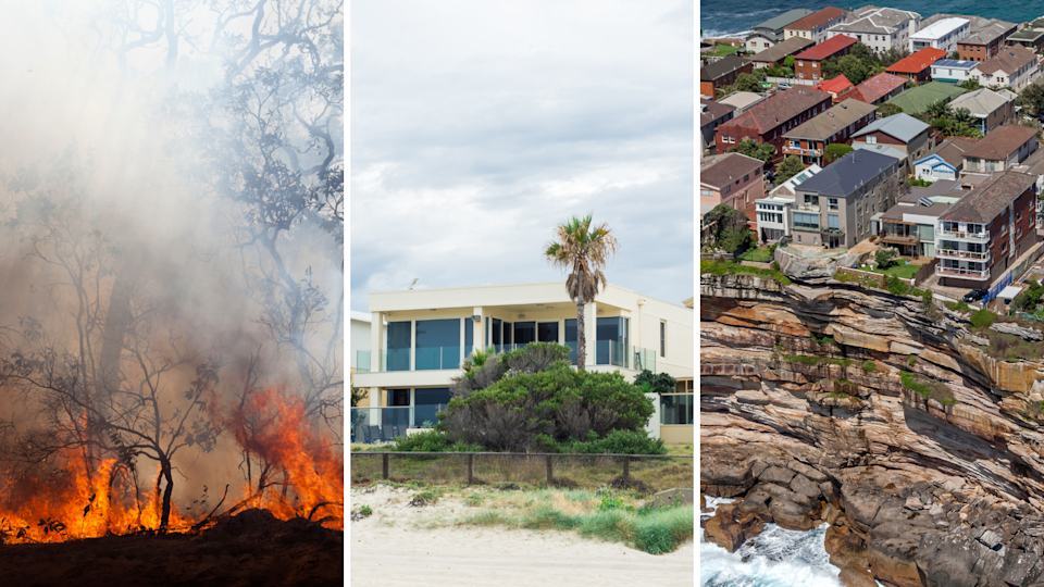 A bush fire, a house built on a beach front and houses built on cliff edges in Australia.